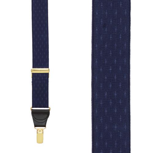Navy Blue Jacquard Suspenders - Petite Diamonds Clip