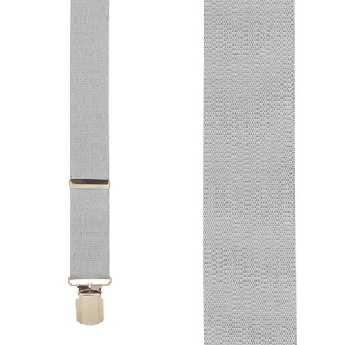 1.5 Inch Wide Pin Clip Suspenders - LIGHT GREY