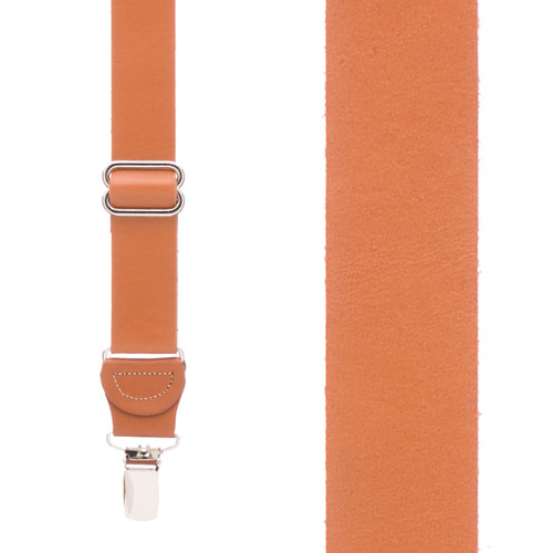 All Leather Clip Suspenders - NATURAL
