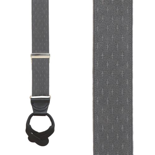 Grey Jacquard Suspenders - Petite Diamonds Button