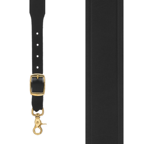 Plain w/Crease Handcrafted Western Leather Suspenders - BLACK