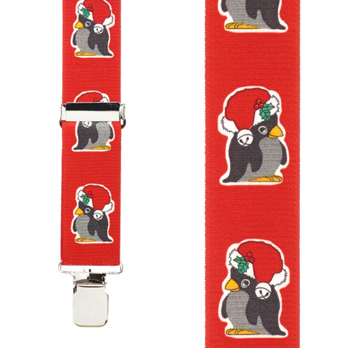 Penguin Christmas Suspenders - 1.5 Inch Wide Clip