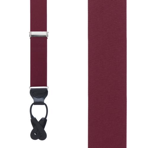 Burgundy Grosgrain BUTTON Suspenders