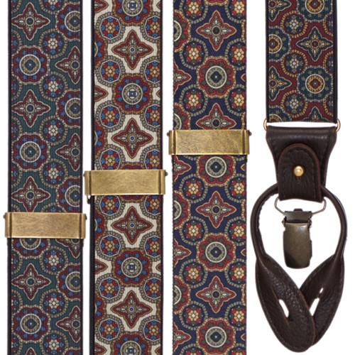 Geometric Pattern Suspenders - Convertible End