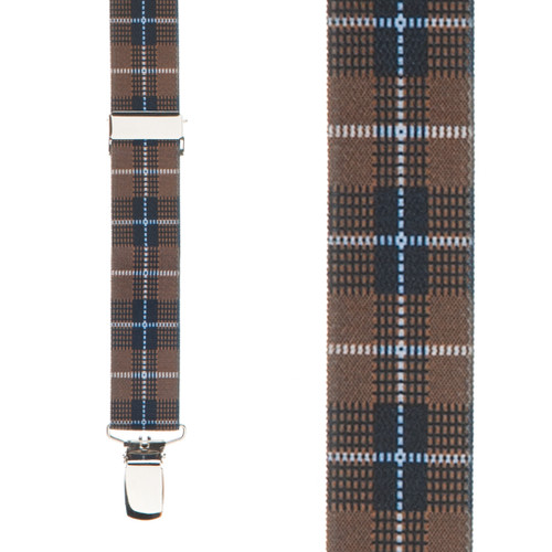 Brown Plaid Suspenders - 1 Inch Wide Clip