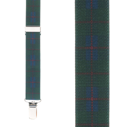 Green Plaid Suspenders - 1 Inch Wide Clip