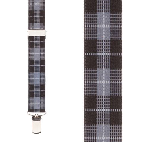 Grey Plaid Suspenders - 1 Inch Wide Clip