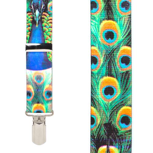 Peacock 1.5-Inch Small Pin Clip Suspenders