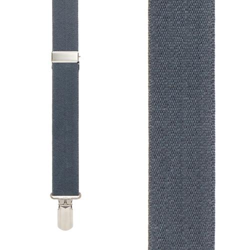 DARK GREY 1-Inch Small Pin Clip Suspenders