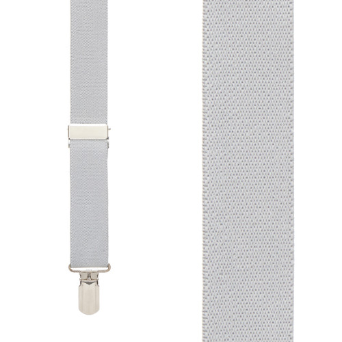 LIGHT GREY 1-Inch Small Pin Clip Suspenders
