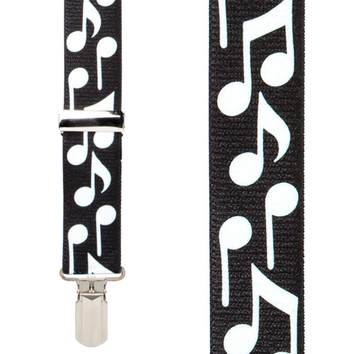 White Music Notes on Black Suspenders - Small Pin Clip