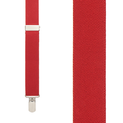 RED 1-Inch Small Pin Clip Suspenders