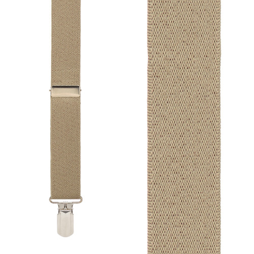 TAN 1-Inch Small Pin Clip Suspenders