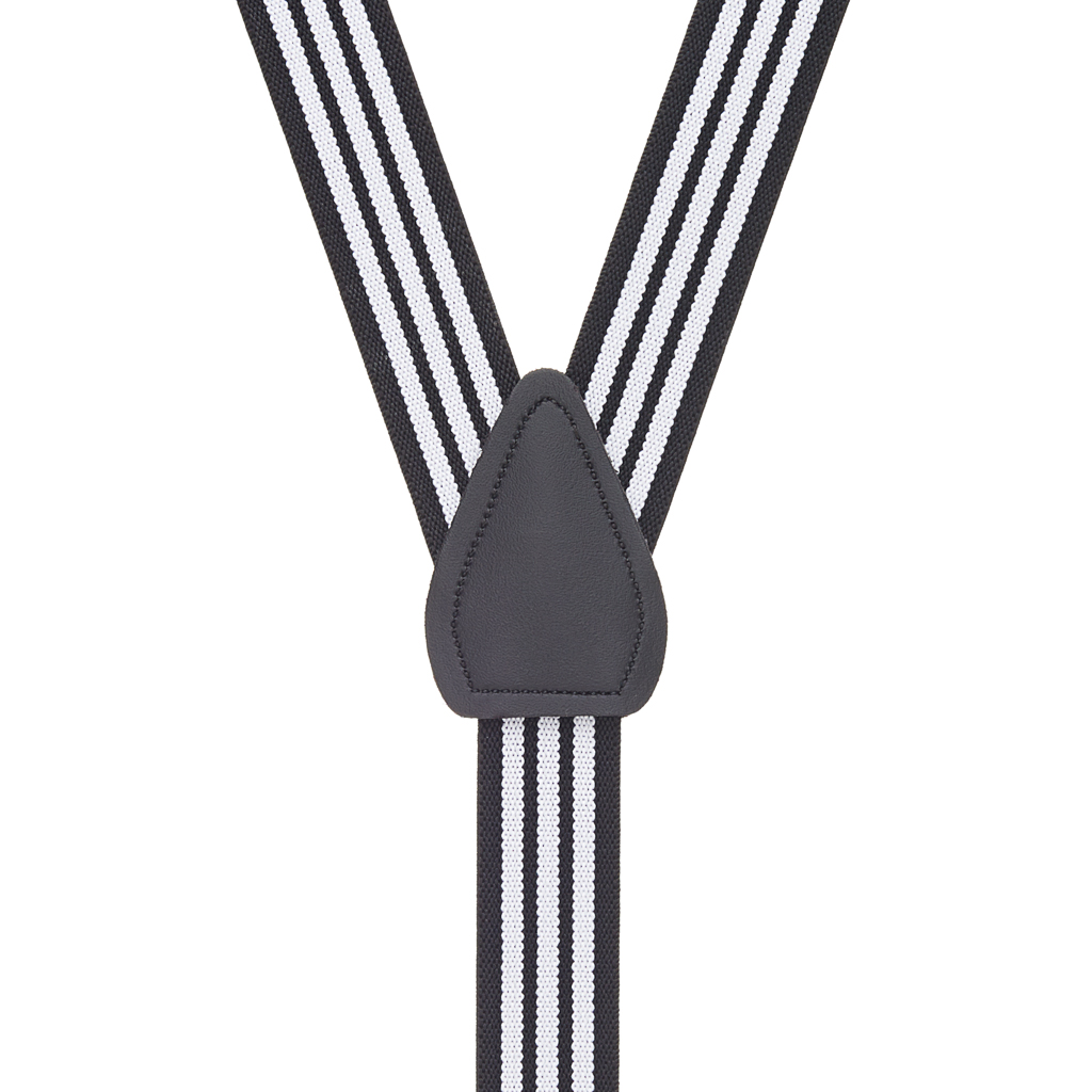 Black & White Striped Suspenders for Kids - 36 Inch Only