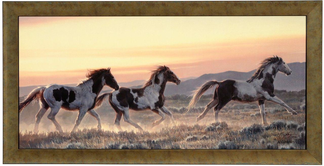 Nancy Glazier \'Early Morning Run\' Horses Canvas Framed L/E Signed ...