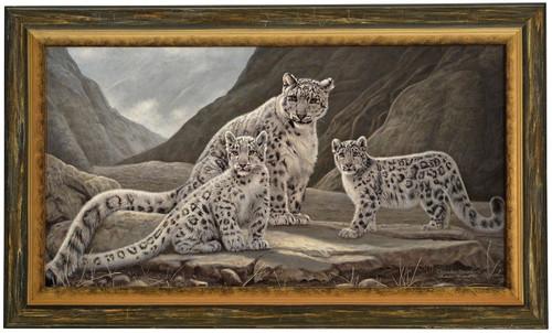 Charles Frace 'Kinship' Snow Leopard Canvas Framed L/E Signed & Numbered
