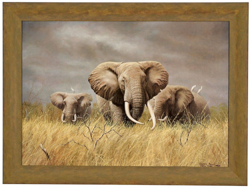 Charles Frace 'Power of the Serengeti' Elephants Canvas Framed L/E Signed & Numbered