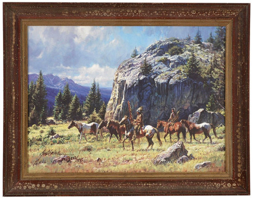 Martin Grelle 'Warrior's Quest' Indian Canvas Framed L/E Signed & Numbered