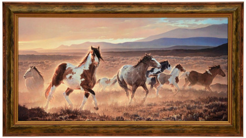 Nancy Glazier 'Domino' Horses Canvas Framed L/E Signed & Numbered
