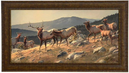 Nancy Glazier 'High Country' Elk Canvas Framed L/E Signed & Numbered