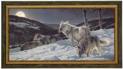 Nancy Glazier 'Hunter's Moon' Wolves Canvas Framed L/E Artist Proof