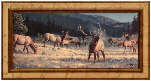 Nancy Glazier 'Rocky Mountain Meadow' Elk Canvas Framed Signed Limited Edition