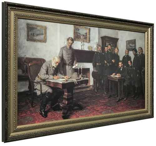 Tom Lovell 'Surrender at Appomattox' Court House Canvas Finish Framed Art O/E