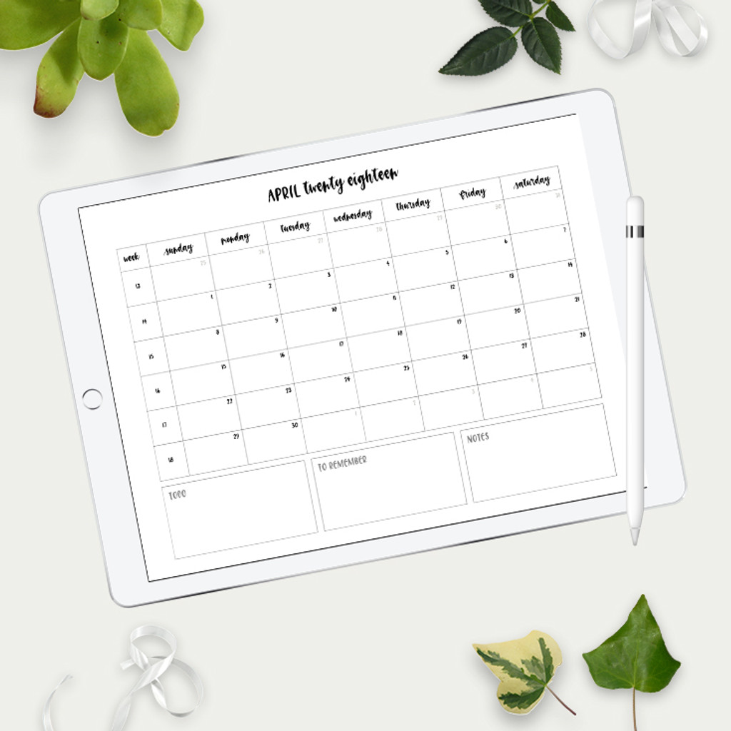 2018 Monthly Calendar Templates Ipad Lettering