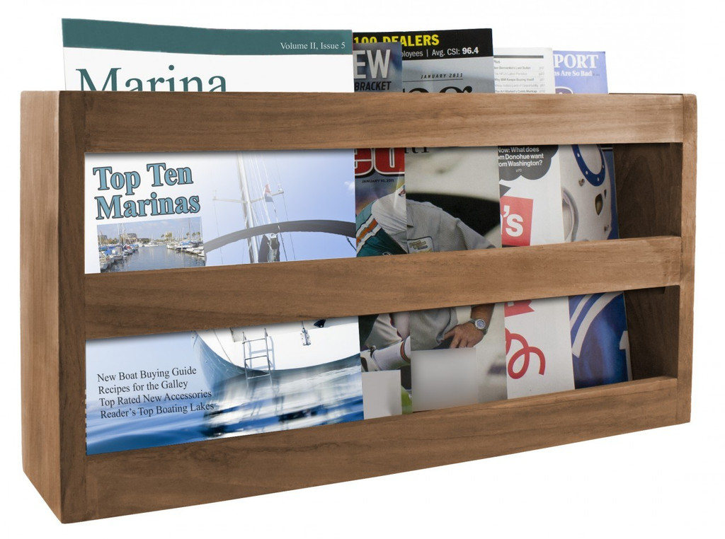 Teak Magazine Rack Double-Wide
