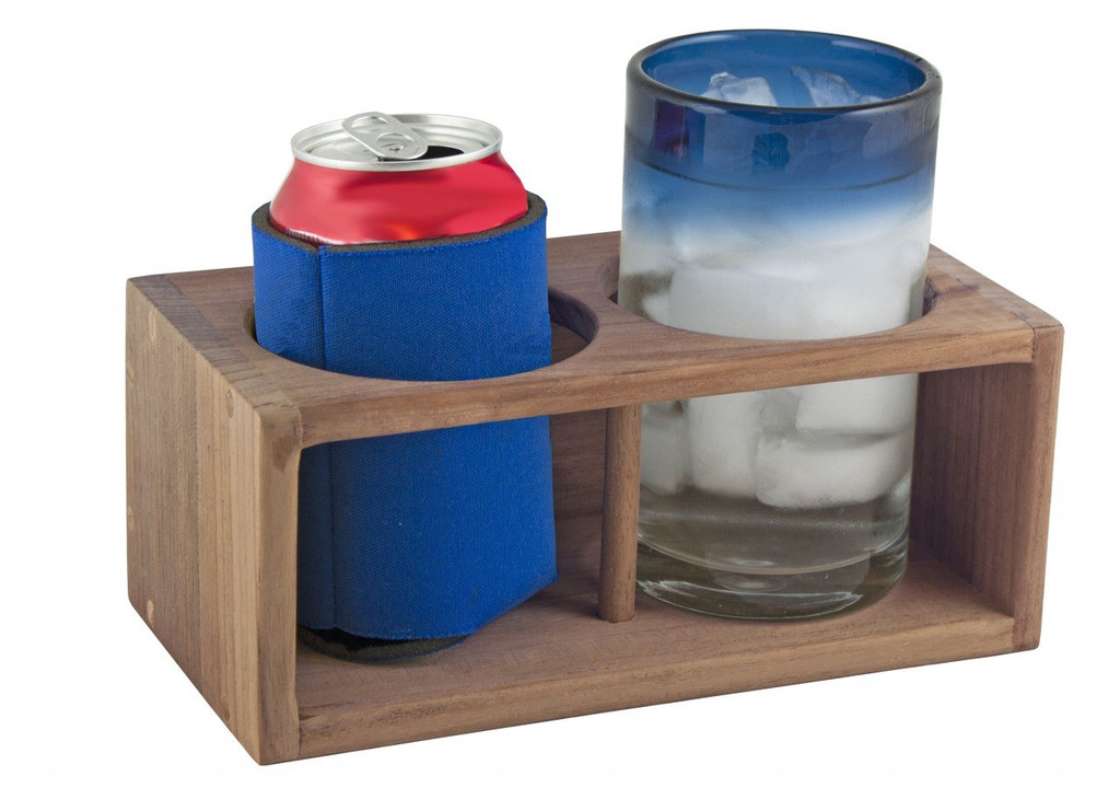 Teak Drink Holder; Two Insulated