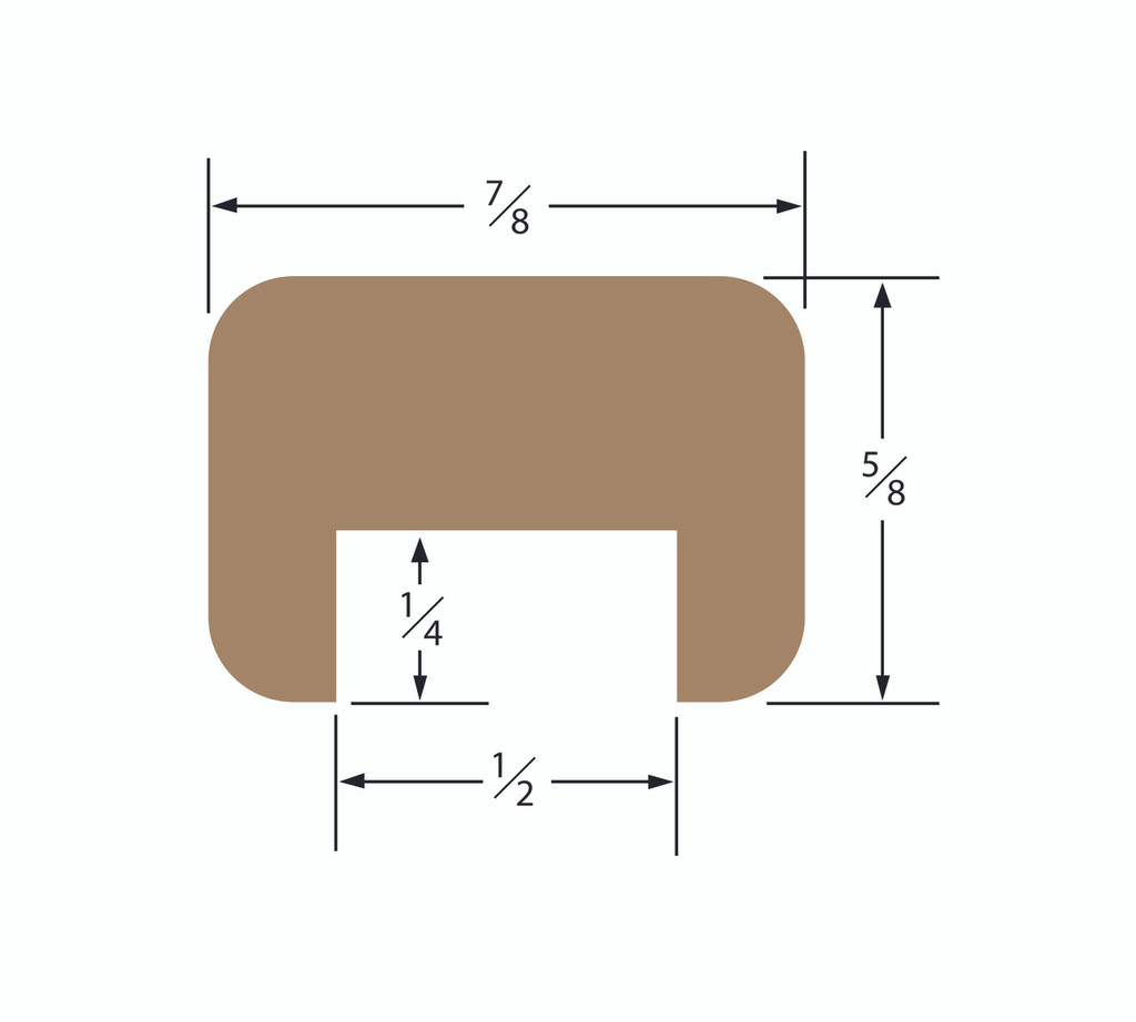 Teak Bulkhead Molding 1/2 Track Straight Length