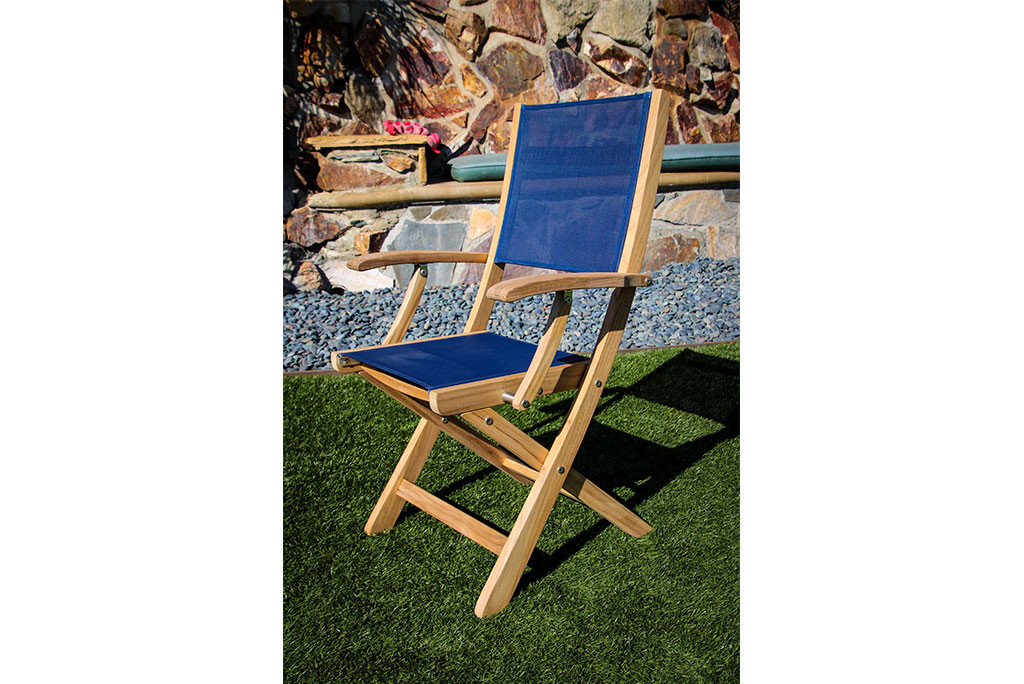 Bimini Folding Teak Deck Armchair with Blue Durasling Fabric