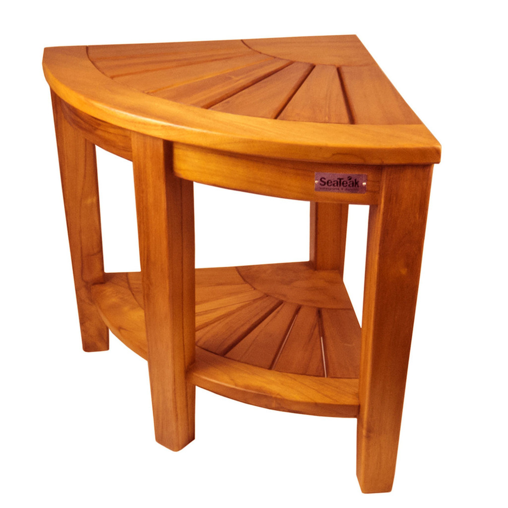 SeaTeak Shower & Spa Corner Seat-Oiled Finish