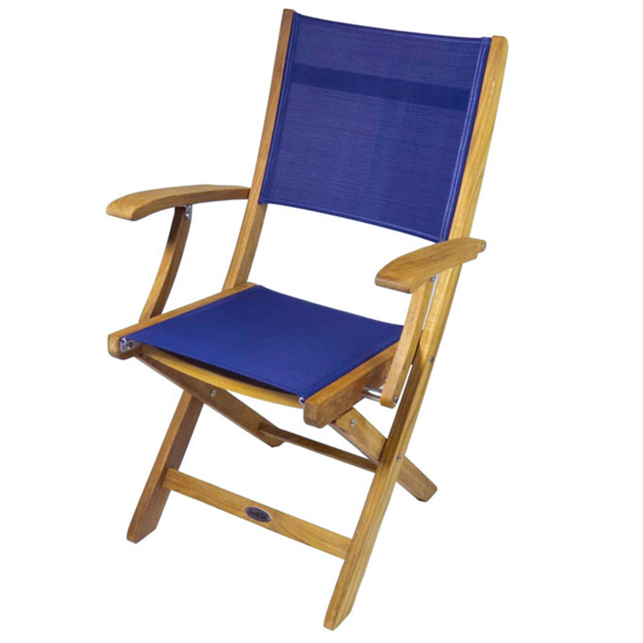 buy seateak bimini folding teak deck armchair with blue textilene