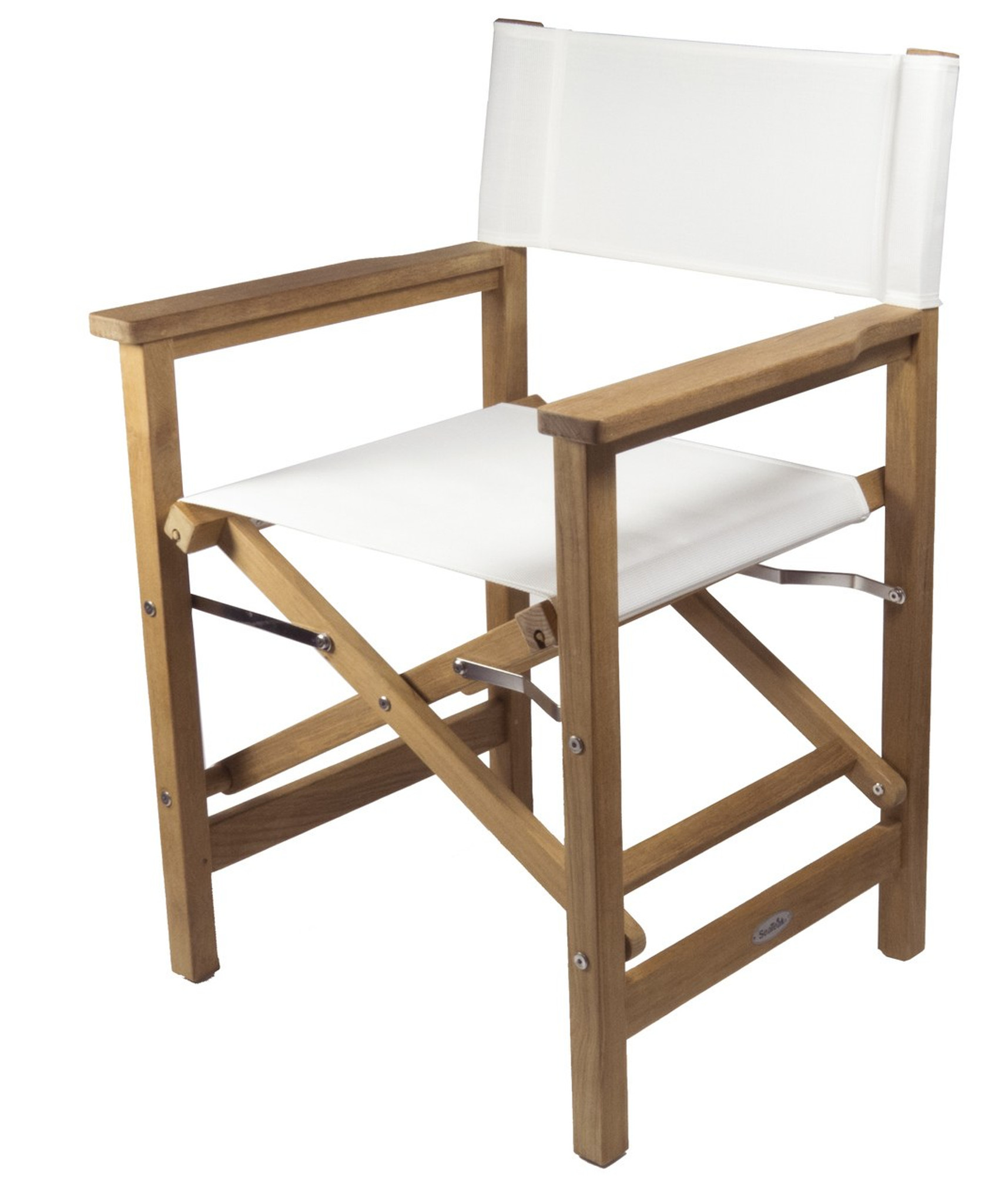 Charmant Teak Directoru0027s Chair (Available In White DURASLING Fabric)