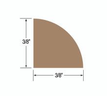 "Teak Quarter Round Molding; Small 3/8"""