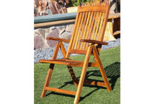 SeaTeak Avalon Folding Multi-Position Deck Chair w/arms- Oiled Finish