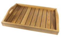 Teak Serving Tray easily removes from stand for portability.