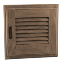 "Teak Louvered Door + Frame, 12"" x 12"" (Right-hand opening)"