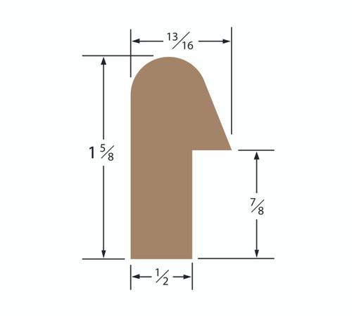 Teak Rail Molding 1-5/8 x 13/16 Straight Length