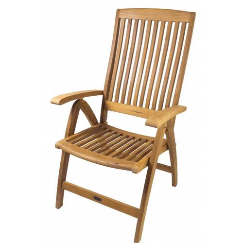 Teak Weatherly Folding 6-Position Deck Armchair