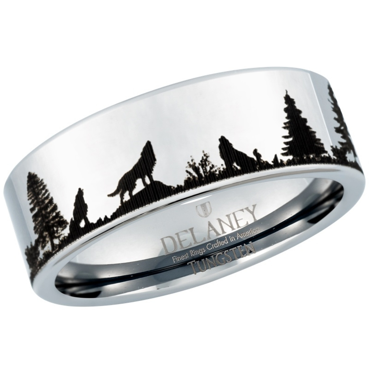 Wolf Howling Landscape Mens Tungsten Ring by Delaney Rings