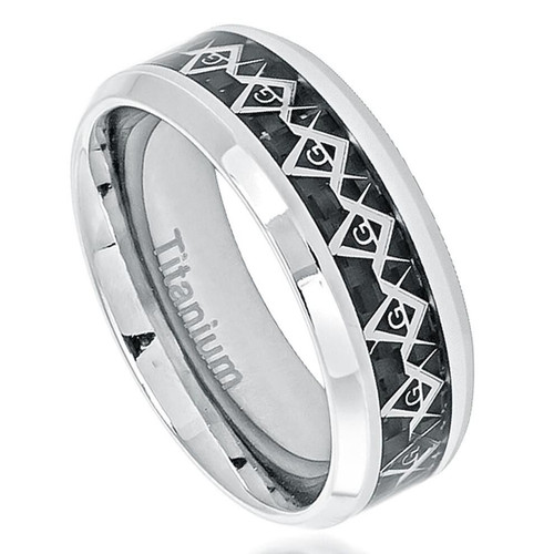 Obsidian Polished Titanium Ring with Black Carbon Fiber Inlay