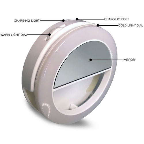 White Dual FLII Selfie Ring Light (Rechargeable)