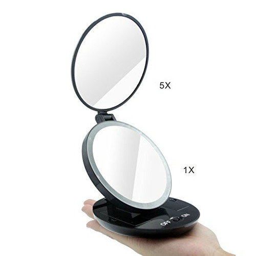 FLII Folding Travel Mirror | 1X and 5X LED Lighted Travel Mirror