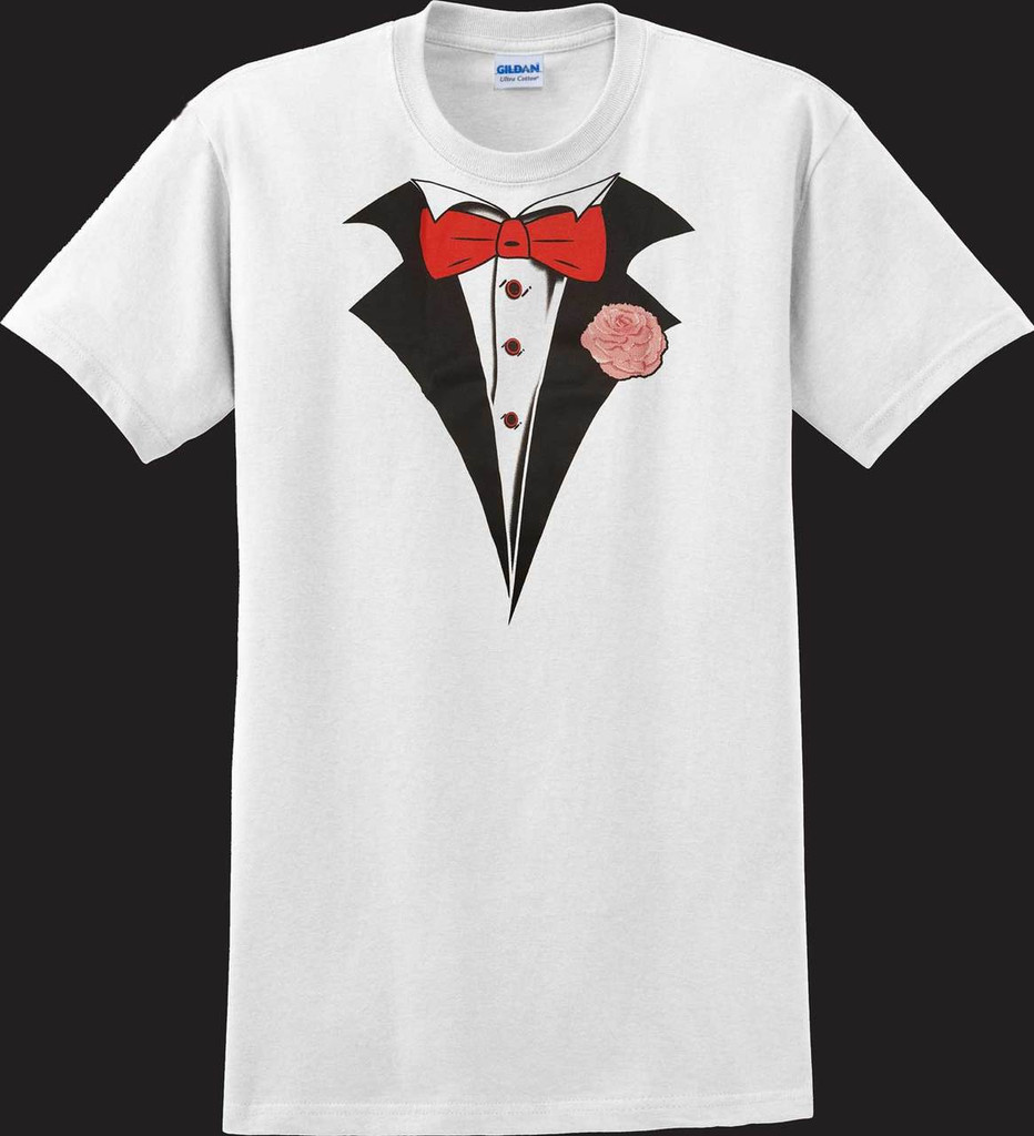 Classic White Tuxedo T-shirt with Carnation (Sale/Closeout)