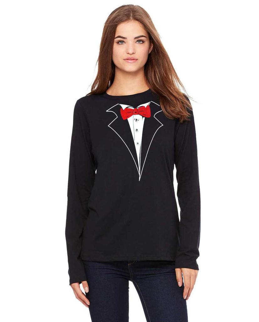 Ladies Longsleeve Tuxedo T-shirt - Missy Size by Bella