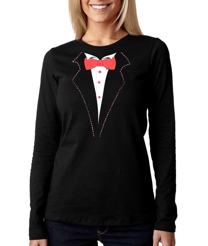 Longsleeve Tuxedo T-shirt Rhinestone Lapels Missy Sizing