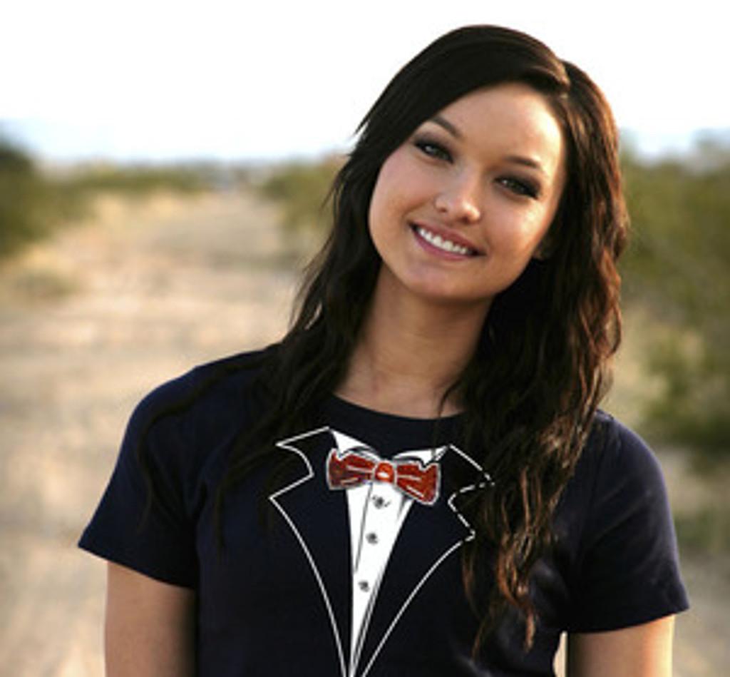 Missy Sizing Tuxedo T-Shirt with Rhinestone Tie