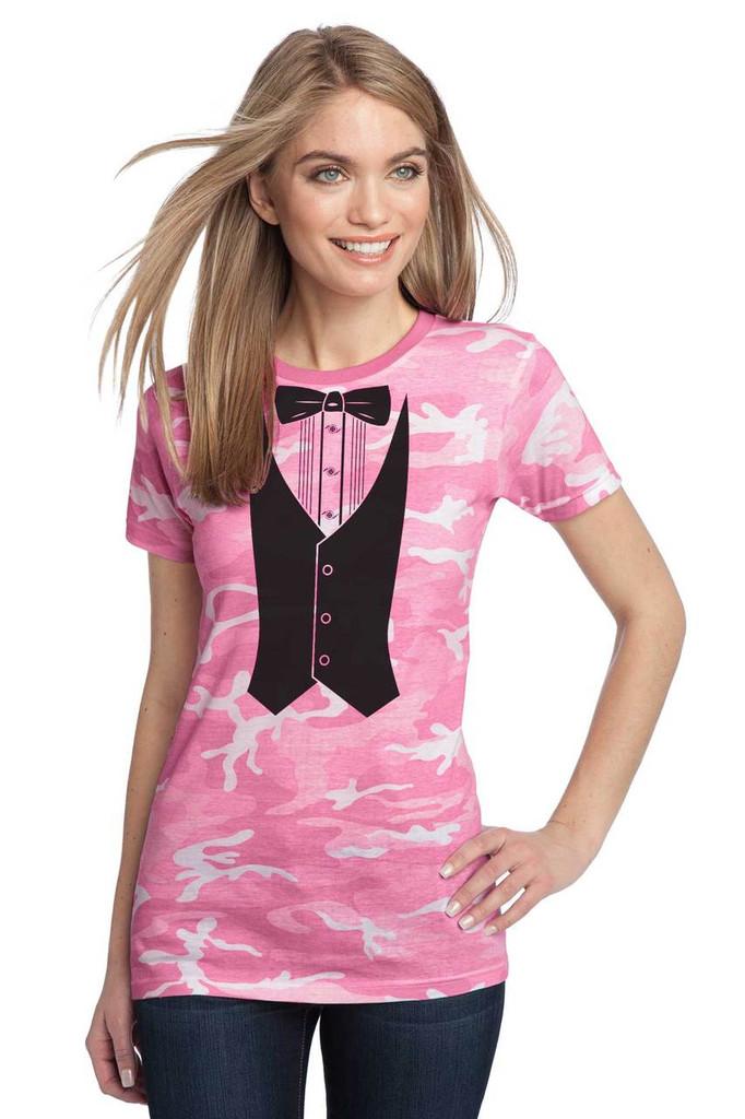 Ladies Pink Camo Tuxedo Tee
